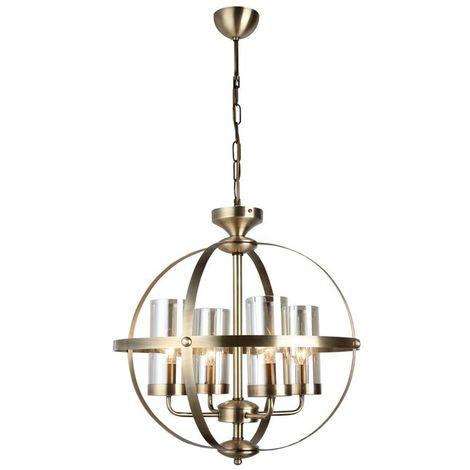 Lustre Fermo - Lampe a suspension - Lampe de plafond - Cuivre en Metal, Verre, 49 x 49 x 90 cm, 4 x E14, 40 W