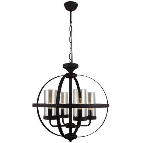 Lustre Fermo - Lampe a suspension - Lampe de plafond - Marron fonce en Metal, Verre, 49 x 49 x 90 cm, 4 x E14, 40 W