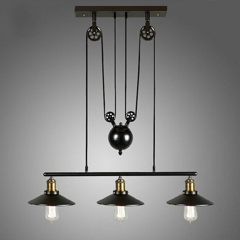 lustre industriel 3 lampes avec poulie en fer effet r tro noir zmdd z0a17. Black Bedroom Furniture Sets. Home Design Ideas