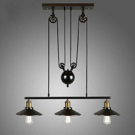 Lustre Industriel à 3 Lampes avec Poulie en Fer Effet Rétro Noir