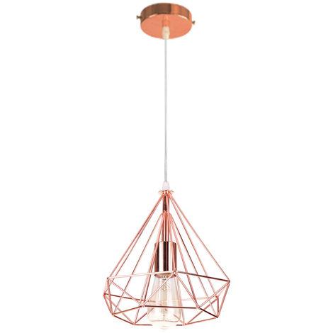 Lustre Industrielle Cage Forme Diamant or rose Lustre Suspension en Metal Fer Luminaire Decor
