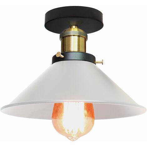 Lustre Industrielle en Métal Blanc Luminaire Abat-jour E27 40W Blanc