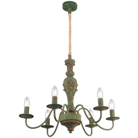 Lustre LED, corde de chanvre, antique vert, D 61 cm, REA