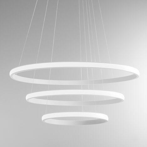 Lustre led gea luce iole s3 60w led 3000lm 3000 ° k dimmable aluminium blanc intérieur moderne