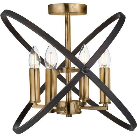 Lustre LED RGB bronze, marron, anneaux réglables en acier, HOOPLA