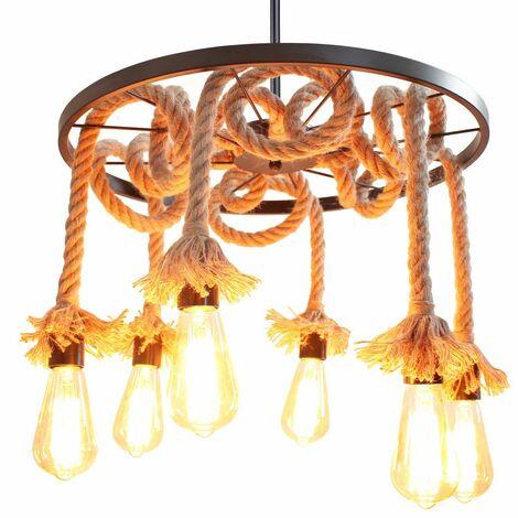 Lustre lumière suspension Ø50cm en corde de chanvre avec 6 douille E27, style industriel rétro salon salle à manger bar balcon pas les ampoules
