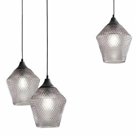 Lustre moderne gea luce asmara s3 e27 led verre fumé