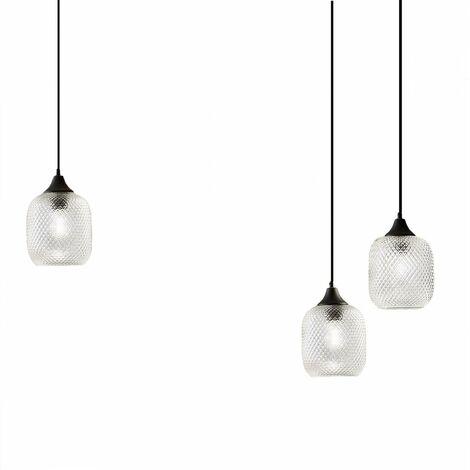 Lustre moderne gea luce aurelia s3 e27 led verre transparent