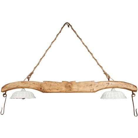 Lustre obtenu par bras fabriqué à la main en bois massif de tilleul et muni de deux abat-jour en céramique blanche.