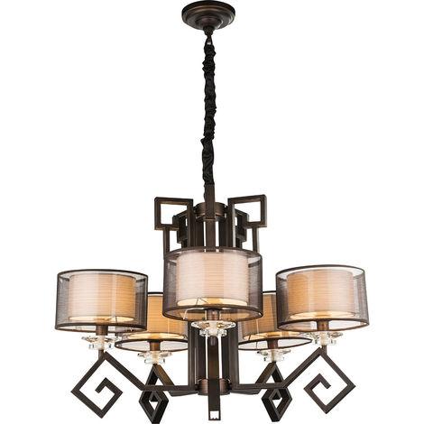 Lustre plafonnier lustre lampe rustique bronze lampe textile champagne Globo 69008-5H