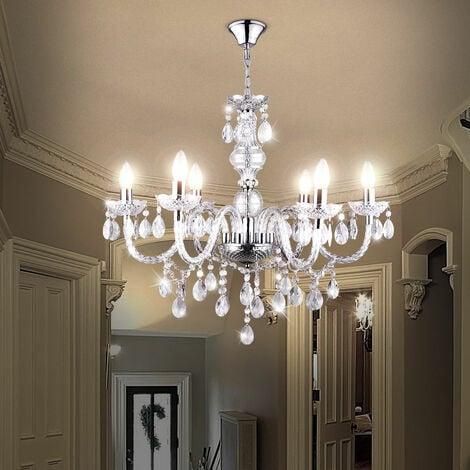 Lustre plafonnier suspendu luminaire cristal pendule Lustres clair salon éclairage Globo 63116-6
