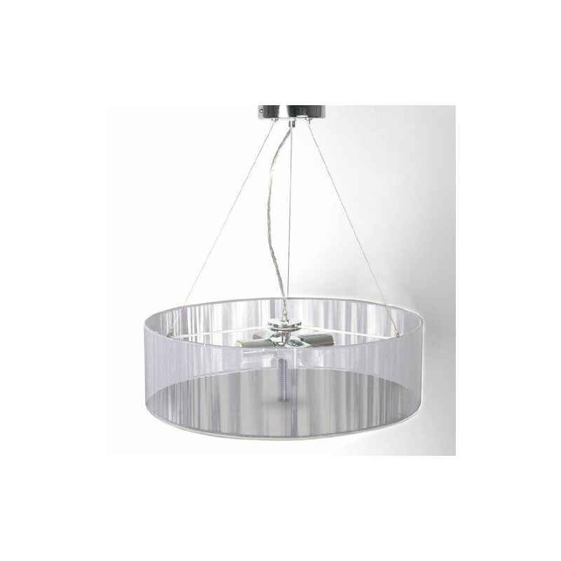 Lustre Plafonnier Suspendu Moderne Tissu Diametre 50 Cm Gris 2401023