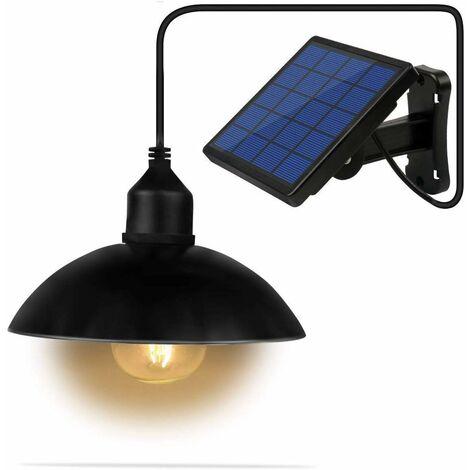 Lustre solaire, couloir de jardin de cour extérieure étanche, lampadaire solaire à LED en fer forgé rétro, lustre