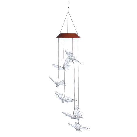 Lustre Solaire LED Carillon de vent Papillon Jardinage Décor extérieur Auto-induction