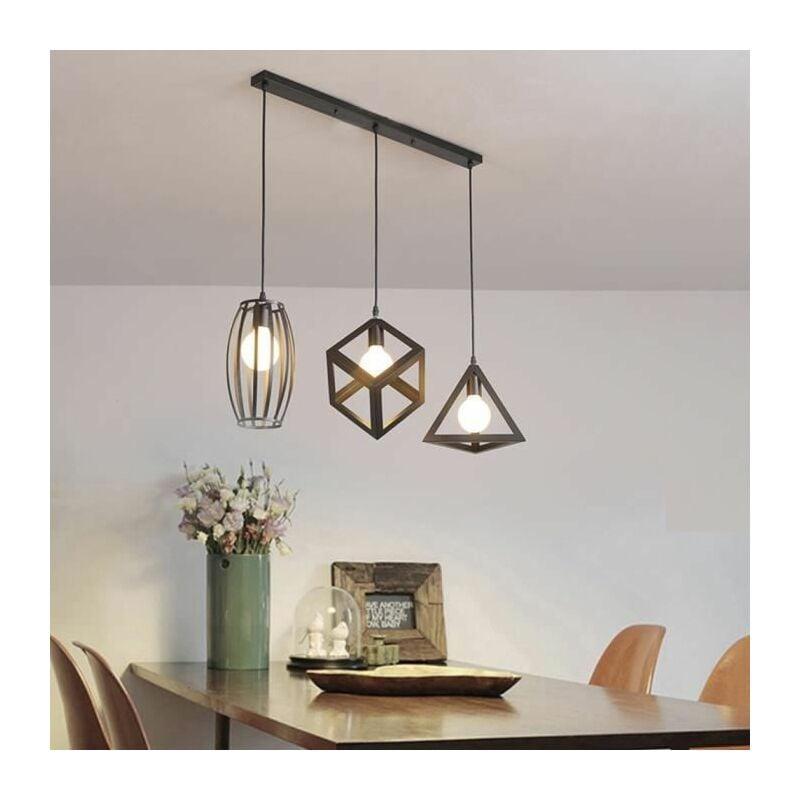 Lustre Suspension 3 Lampes Industriel Luminaire Abat Jour Noir E27