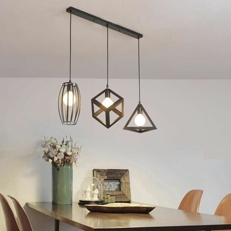 lustre suspension 3 lampes industriel luminaire abat jour. Black Bedroom Furniture Sets. Home Design Ideas