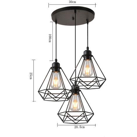 lustre suspension 3 lumieres abat jour metal lampe. Black Bedroom Furniture Sets. Home Design Ideas