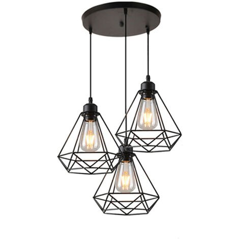 Lustre Suspension 3 Lumieres en Metal E27 20,5cm Noir