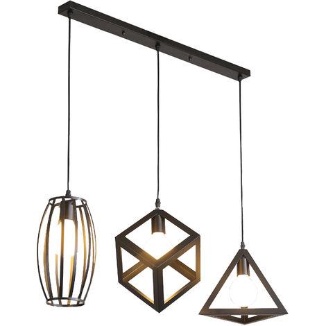 LUSTRE - SUSPENSION 3 Lumieres Lampe Cage Forme Diamant Lustre Vintage Industrielle Luminaire pour Salle a Manger Couloir