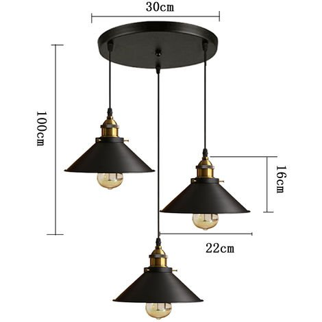LUSTRE - SUSPENSION 3 Lumieres Luminaire Abat-jour Metal Lampe Suspension Industrielle E27 22cm Noir