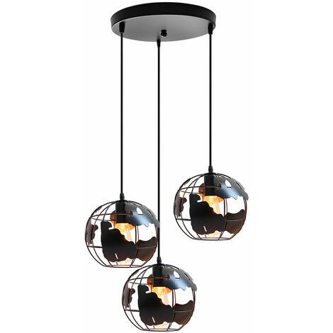 Lustre Suspension 3 Lumières Style Industriel Nordique Abat-jour Globe E27 20cm pour Chambre Salon Bar Noir