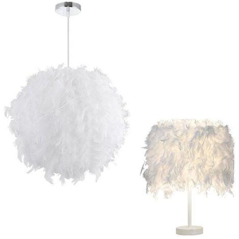Lustre Suspension abat-jour Lampe plumes 30 cm + Lampe de table en plumes Blanc 20cm