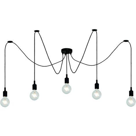 Lustre Suspension Araignée DIY Ajustable Plafonnier E27 1,5m Fil 5 Têtes Style Vintage Noir pour Salon Chambre