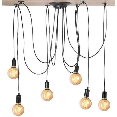 Lustre Suspension Araignée DIY Ajustable Plafonnier E27 1,5m Fil 6 Têtes Style Vintage Noir pour Salon Chambre