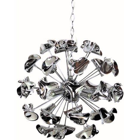 Lustre suspension boule design en métal chromé plafonnier suspendu 4 lumières