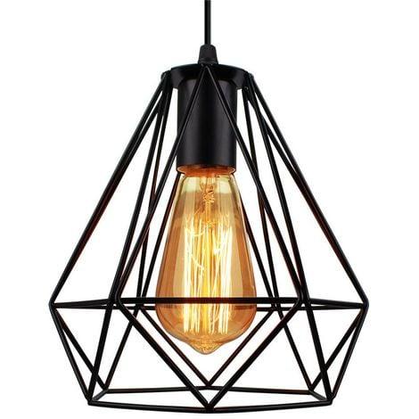 Lustre suspension cage design diamnt en métal fer 20cm, luminaire abat jours retro industriel E27 Edison , Noir