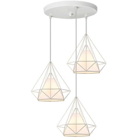 Lustre Suspension Cage en forme Diamant Industrielle,Lampe Plafonnier Corde Ajustable Luminaire Blanc pour Salle à Manger,Bar,Chambre