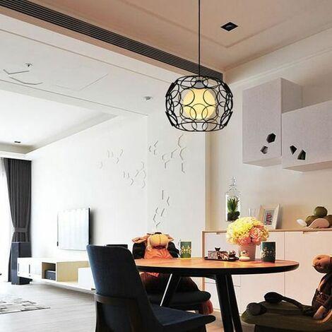 Lustre Suspension Cage Fer E27 30CM pour Décor Restaurant Salle Chambre,Noir
