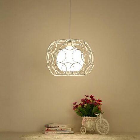 Lustre Suspension Cage Fer Industrielle 30CM E27 Luminaire pour Décor Restaurant Salle Chambre,Blanc