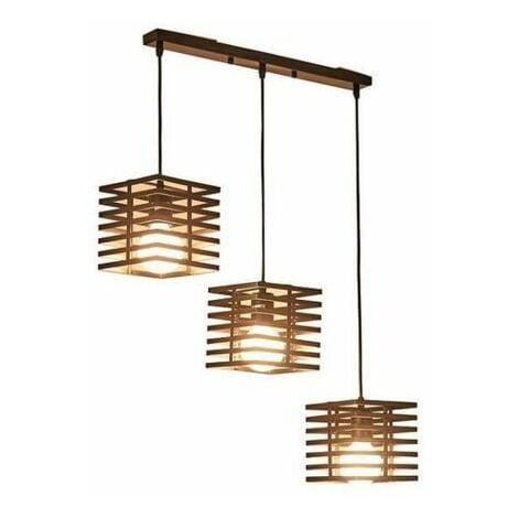 Lustre suspension cage forme colonne carr e ajustable - Lustre salle a manger contemporain ...