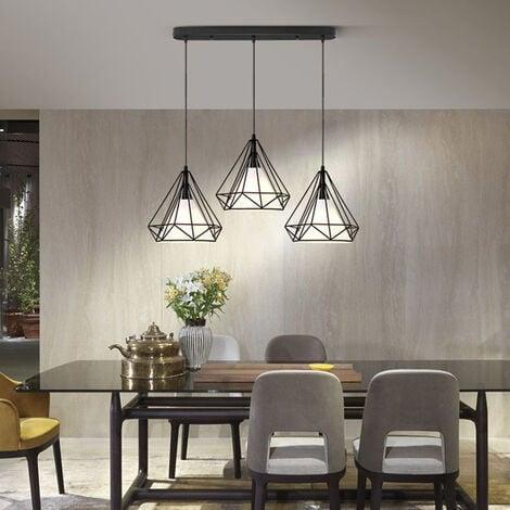 Lustre suspension cage forme diamant contemporain lampe plafonnier luminaire lustre pour cuisine - Plafonnier pour salle a manger ...