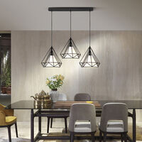 Lustre Suspension Cage Forme Diamant Contemporain Lampe Plafonnier Luminaire Lustre pour Cuisine Couloir Salle à manger Salon restaurant Noir