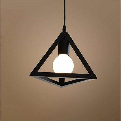Lustre suspension cage forme triangulaire fer abat-jour luminaire pour salon salle à Manger suisine bar