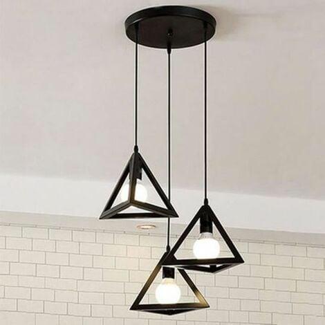 Lustre suspension cage forme triangulaire fer noir, luminaire abat-jour métal 3 lampes intérieur Salle à Manger