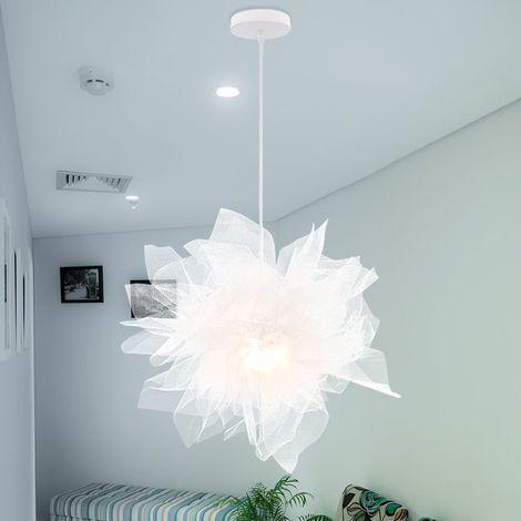 Lustre Suspension Contemporain Diamètre 70 cm E27 Blanche , Abat-jour Luminaire Plafonnier pour Chambre de l'enfant, Salon, Décor