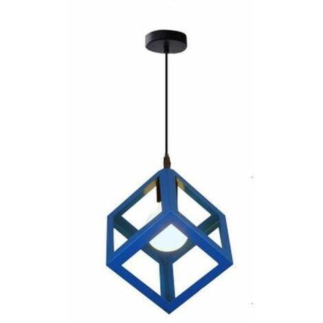 Lustre Suspension Contemporain en Cage Cube fer Luminaire E27 Bleu