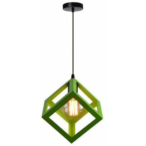 Lustre Suspension Contemporain en Cage Cube fer Luminaire E27 Vert