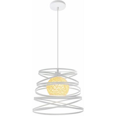 Lustre Suspension Créatif Industriel Lampe Abat-jour Métal 30cm E27 pour Salon Cuisine Chambre Bar Blanc