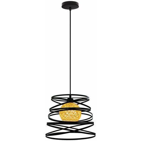 Lustre Suspension Créatif Industriel Plafonnier Abat-jour Métal E27 pour Salon Cuisine Chambre Bar Noir - 30cm
