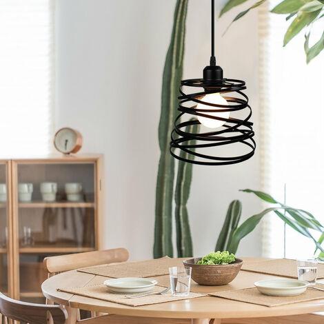 Lustre Suspension Créatif Lampe Abat-jour Métal 20cm E27 pour Salon Chambre Bar Noir