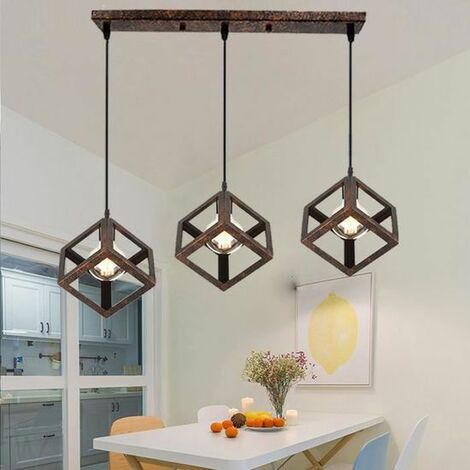 Lustre Suspension Design Cube Métal Industriel Barre 3 Lampes ...