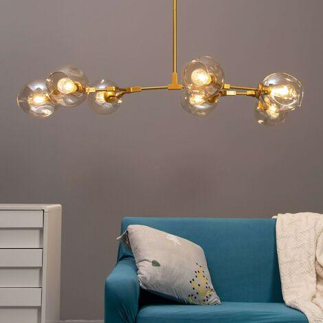Lustre suspension dorée style floral 7 boules - Ofélia - Doré / Laiton