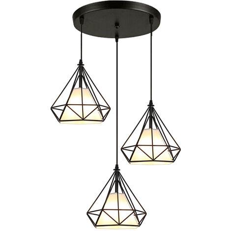 Lustre Suspension E27 Cage en Fer Forme Diamant Plafonnier Luminaire Eclairage ( Noir 20cm)