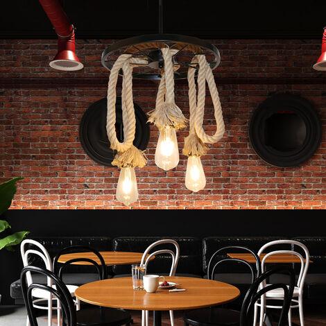 Lustre suspension en corde de chanvre 3 Lampe E27 , Lampe de plafond roue industrielle Rétro pour Restaurant Salon Salle À Manger Bar