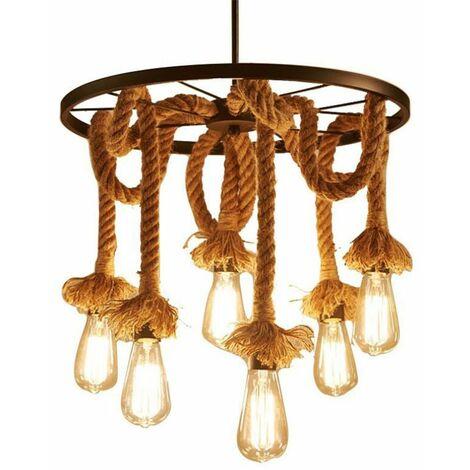 Lustre suspension en corde de chanvre 6 Lampe Douille E27 , Rétro Lampe de plafond roue industrielle pour Restaurant Salon Salle À Manger Bar