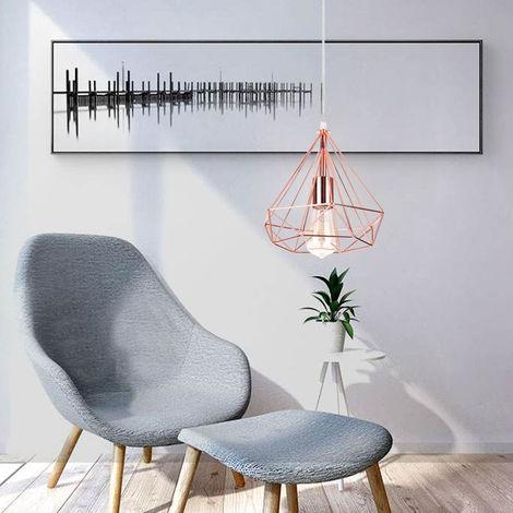 Lustre Suspension en Metal Fer Forme Diamant Lampe de Plafond Luminaire Abat-jour Style Contemporain Decor